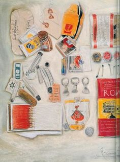 This is the work of Candy Jernigan, an artist who collected objects off the street, on journeys from her everyday life then presented them as artworks, books and drawings Mix Media, Art Projects, Projects To Try, Object Drawing, Found Object Art, A Level Art, Everyday Objects, Everyday Items, Gcse Art