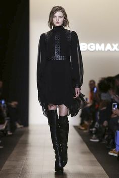 BCBG Max Azria Ready To Wear Fall Winter 2015 New York...Interesting leather trim.