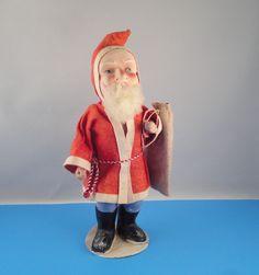RARE VINTAGE CHRISTMAS SANTA CLAUS COMPOSITION CLOTH FUR TOYS SACK ETC