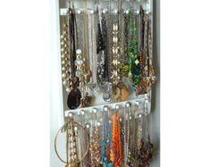 Jewelry Holder Hangs 30 120 Necklaces Oak By JewelryHoldersForYou