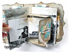 #papercraft #scrapbook #minialbum. Love the combination of b&w photos with her colour choices for the papers and embellishments.