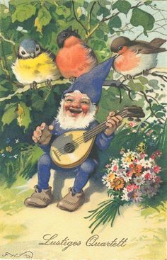 What a happy little gnome! And he has some cute feathered friends, too. ^u^