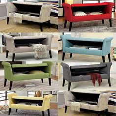 Doheny Living Room Comfort Elegant Fabric Storage Bench Curved Arm Legs Design