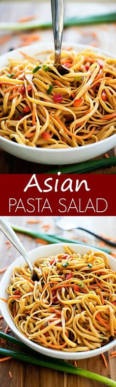 cold pasta salad infused with Asian flavor will be the hit of any BBQ or picnic!This cold pasta salad infused with Asian flavor will be the hit of any BBQ or picnic! Asian Pasta Salads, Pasta Salad Recipes Cold, Cold Pasta Dishes, Taco Salads, Asian Recipes, Healthy Recipes, Summer Salads, Summer Bbq, Asian Cooking
