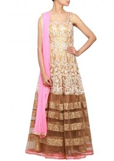 Gold anarkali in net embellished in zari and thread work only on Kalki Thread Work, Indian Dresses, Anarkali, Projects For Kids, Pink And Gold, Sequins, Sarees, Light Blue, Fashion
