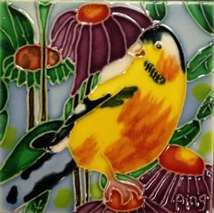 Continental Art Center SD035 4 by 4Inch Gold Finch Ceramic Art Tile -- Check this awesome product by going to the link at the image.