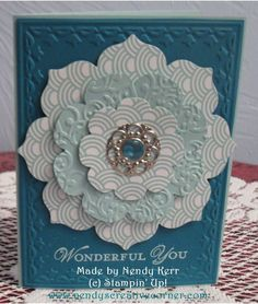 handmade card with Floral Framelit Spring Flower ... lblues ... layers ... printed papers ... textured card stock ...