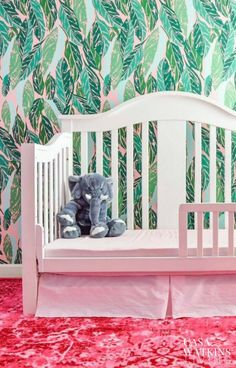 Creating jungalow boho girls room with Nana in Pink by Justina Blakeney For Hygge & West wallpaper available at Wallpaper Boulevard. #GettheGlobalLook #ad