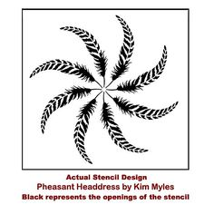 """Single overlay stencil Offered in 2 sizes: MED: Sheet 20""""x20"""", Design 16"""" in diameter LARGE: Sheet 36""""x36"""", Design 32"""" in diameter *999-Pheasant-headdress-feather-stencil*"""