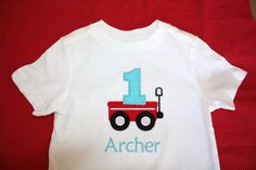 Personalized Birthday Red Wagon with Number Tshirt or by slmeccage, $17.50