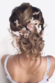 30 Top Wedding Updos For Medium Hair ❤ wedding updos for medium hair swept low bun with pink flowers hair_vera #weddingforward #wedding #bride #weddinghair #weddingupdosformediumhair