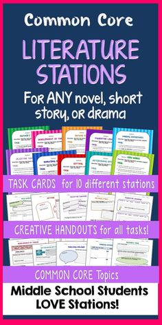 Literature Stations with Task Cards - Motivate your students with STATION work centered on Common Core topics using ANY novel, story, or drama! You get TEN different stations with detailed task cards and inviting student handouts for each. Great for differentiation—you choose the stations that best fit the text and your students' needs. Grades 6-7-8 8th Grade Ela, 6th Grade Reading, Middle School Reading, Middle School English, Fourth Grade, Teaching Literature, Teaching Reading, Kindergarten Writing, English Classroom