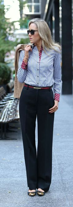The patterned details on this button down are fabulous. Love the super skinny belt too.