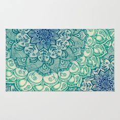 Emerald Doodle Area & Throw Rug