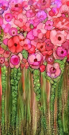 Ink Drawing Alcohol Ink Mixed Media - Wild Poppy Garden - Pink by Carol Cavalaris - Alcohol Ink Crafts, Alcohol Ink Painting, Alcohol Ink Art, Watercolor Flowers, Watercolor Art, Painting Flowers, Wild Poppies, Arte Floral, Floral Wall