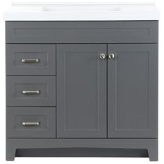 Home Decorators Collection Thornbriar 37 in. W x 22 in. D Vanity in Cement with Cultured Marble Vanity Top in White with White Sink - The Home Depot Basin Cabinet, Cabinet Space, White Vanity, White Sink, Shaker Style Doors, Single Sink Vanity, Open Cabinets, Marble Vanity Tops, Bathroom Vanity Cabinets