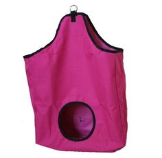 """Large Canvas Hay Bag Megenta by AJ. $10.00. Porthole: 7"""". Color: Megenta. Size: 29"""" tall x 19"""" wide x 5"""" deep. Nylon hay bag, made with super tough 600 Denier poly PVC coded with nylon. Two metal rings at top, easy to attach to the stall or trailer; one ring at the back to secures the bottom. Extral Large Size, great quality.. Save 60%!"""