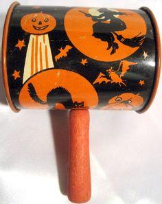 vintage halloween noisemaker metal bell noisemaker with wood handle witch moon black cat jack o lantern vintage halloween noisemakers pinterest