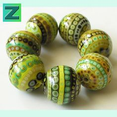 Dotty Isles Avocado  7 delightfully dotty beads  by zbeads on Etsy, $120.00