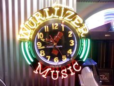 Wurlitzer Music Jukebox Ad Neon Light Up Wall Clock