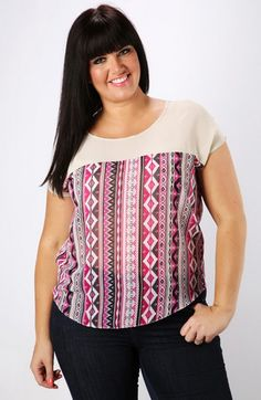 Camiseta étnica semitransparente tallas 44 a 60