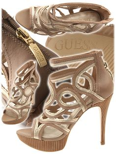 Guess  Shoes. Taupe scroll top heels