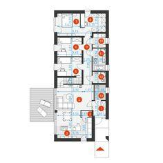 DOM.PL™ - Projekt domu DZW EKONOMICZNY 2B CE - DOM DW1-10 - gotowy koszt budowy My House, Diagram, Floor Plans, How To Plan, Business, Denim Quilts, Houses, Plants, Floor Plan Drawing
