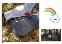 Jean bag- Baykuşlu kot çanta