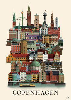 Copenhagen Kopenhagen Poster Martin Schwartz JUNIQE