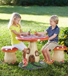 Fairy-Tale Mushroom Kids 3 Piece Table and Chair Set Mushroom Stool, Mushroom Art, Kids Table Chair Set, Baby Girl Nursery Themes, Nursery Ideas, Nursery Decor, Fairy Gifts, Forest Fairy, Indoor Playground