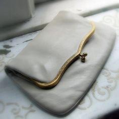 Vintage clutch. Woolf Bros. Winter white capeskin