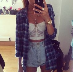 denim shorts, white half shirt, and flannel