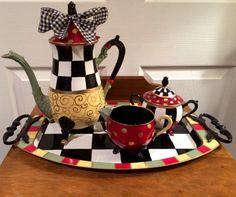 Painted silver tea set // painted teapot // whimsical painted tea set // custom