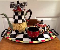 Painted silver tea set // painted teapot // whimsical painted tea set // custom