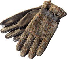 Handschuhe aus schottischen Harris Tweed und Leder
