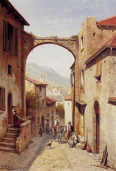 Jacques Carabain Rue A Narni, Italy painting is shipped worldwide,including stretched canvas and framed art.This Jacques Carabain Rue A Narni, Italy painting is available at custom size. City Landscape, Urban Landscape, Landscape Paintings, Beautiful Paintings, Beautiful Landscapes, Ara, Italy Painting, Picasso, France