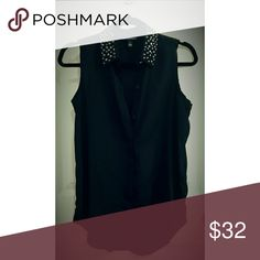🎀Rock & Republic Blouse🎀 No sleeves, Black blouse with silver studs on collar. Rock & Republic Tops Blouses