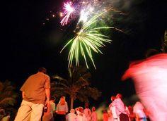 Fireworks at Morada Bay's full moon party in the Florida Keys