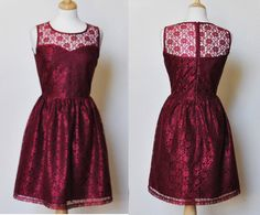 PROVENCE+Burgudny+CUSTOM+FIT++Burgundy+red+lace+dress+by+mfandj,+$65.00