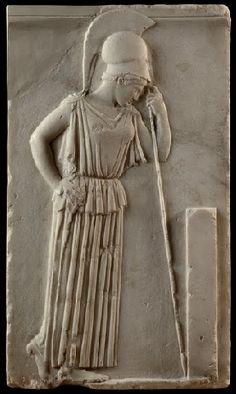 Atena protettrice degli ateniesi, bassorilievo su una stele di marmo pario, V sec. A.C. (460 ca.)