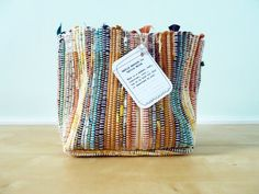 Hand woven rag rug basket by Doaktextile on Etsy, $40.00