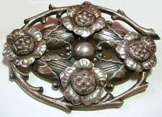 Art Nouveau Brooch Pin Silver Plated by BrightgemsTreasures, $34.50