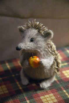 Stuffed Animals by Natasha Fadeeva - hedgehog holding an apple