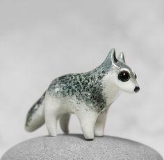 Wolf Figurine OOAK Handmade Polymer Clay Animal Totem