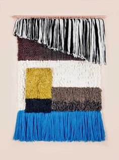 Brook & Lyn Art/Objects BLACK AND WHITE ASYMMETRIC RYA, handwoven by Mimi Jung in Los Angeles.