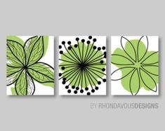 Green bedroom Decor - Lime Green Black Flower Print Trio Home Petals Bloom Wall Art Bedroom Nursery Bathroom Bath Dining You Pick the Size & Colors Bathroom Paint Colors, Bathroom Wall Decor, Bedroom Wall, Bedroom Decor, Bedroom Colors, Bathroom Beadboard, Beige Bathroom, Mini Tela, Bedroom Green