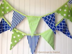 Fabric pennant garlands say Celebrate, Have fun, and Smile like nothing else. They naturally evoke happiness! Garlands from Hatchlings by