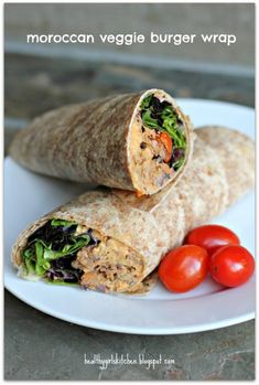Easy, delicious and healthy Moroccan Veggie Burger Wraps recipe from SparkRecipes. See our top-rated recipes for Moroccan Veggie Burger Wraps. Good Healthy Recipes, Healthy Foods To Eat, Veggie Recipes, Whole Food Recipes, Vegetarian Recipes, Cooking Recipes, Healthy Eating, Amazing Recipes, Easy Recipes