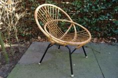Vintage retro rotan design stoel fifties sixties