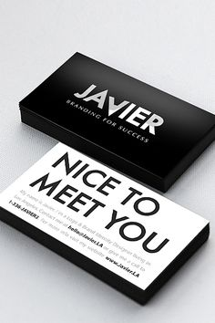 When your job entails helping people and companies establish their brand identity, you should probably have a fantastic one yourself. Javier, the founder of Branding For Success, indeed accomplishes this tall order with these sleek, professional cards he designed himself.